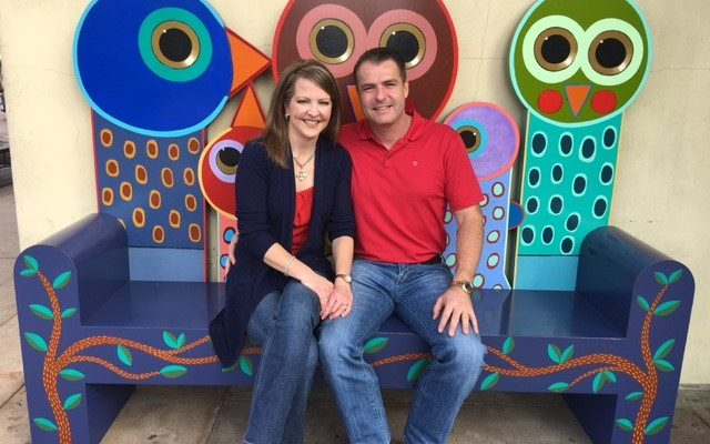 """""""Family"""", one of 14 Art Benches in The Woodlands, was underwritten by Gordy and Michelle Bunch (pictured), and created by Terrell Powell of Austin. The Woodlands Arts Council is now seeking additional underwriters for four to six new art benches in the third phase of the Art Bench Project. The deadline for underwriting is July 2017. The new benches will be installed in early 2018."""