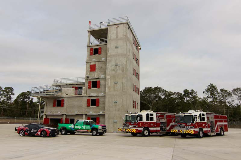The new City of Conroe Fire Training Facility is seven stories. Welding students from Lone Star College-Conroe Center made a bed, table, chairs, sofa, coffee table, end tables and a refrigerator out of scrap metal. These props will help fire fighters learn how to search and maneuver around obstacles during fires.