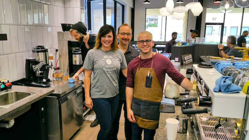 Owners of Momentum Coffee, Tia Hoffman, Allen Leibowitz and Ethan Elms
