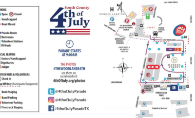 Residents and visitors are encouraged to be aware of road closures and parking information for the Fourth of July celebrations in The Woodlands.