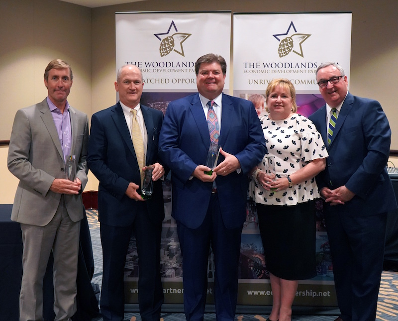 2017-2018 EDP Officers receiving an award for recognition of outstanding service (L-R) Josh Urban, Memorial Hermann The Woodlands Medical Center; Ron Roberson, Caldwell Companies; Jim Calvetti, Calvetti Ferguson; Heidi Carney, First Financial Bank; Gil Staley, The Woodlands Area Economic Development Partnership. Not pictured: Debra Sukin, Houston Methodist The Woodlands Hospital