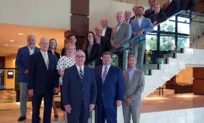 2018-2019 EDP Board of Directors effective September 1, 2018 (Front Row L-R) Gil Staley, The Woodlands Area Economic Development Partnership; Jim Calvetti, Calvetti Ferguson; Josh Urban, Memorial Hermann The Woodlands Medical Center; (Second Row L-R) Ron Roberson, Caldwell Companies; Heidi Carney, First Financial Bank; (Staircase L-R) Steve Pilgrim, Entergy Texas; Christin Allphin, Woodforest National Bank; Steve Smith, BB&T; Whitney Wall, Wells Fargo; Don Norrell, The Woodlands Township; Dr. Steve Head, Lone Star College System; JJ Hollie, The Woodlands Area Chamber of Commerce; Rob Eissler, Westwood Magnolia Parkway Improvement District; Trent Fulin, Houston Methodist The Woodlands Hospital; Frank Holmes, Sam Houston State University; Scott Kitchen, Consolidated Communications; Jimmy Dupuis, Kean Miller; Jim Parisi, CHI St. Luke's Health The Woodlands Hospital; and Stephen Wright, Wright Business Technologies. Not pictured: Gordy Bunch, The Woodlands Township; Steve Pate, Strike, LLC; Alex Sutton, Howard Hughes Corporation®; Ryan Edone, Petroleum Wholesale; Ben Jones, McKesson Specialty Health; Danny Gallant, Stephen F. Austin State University; Mayor James Kuykendall, City of Oak Ridge North; Commissioner James Noack, Montgomery County Precinct 3; Mayor Ritch Wheeler, City of Shenandoah; Paul Carroll, Efficient Wealth Management.