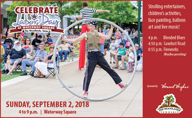 Relax and enjoy the fruits of your labor at Waterway Square on Sunday, September 2, 2018 from 4 to 9 p.m. with live music, children's activities, strolling entertainers and fireworks.