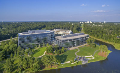 "The Howard Hughes Corporation® has recently acquired the two former Chicago Bridge & Iron Company (CB&I) Class-A office buildings, situated on the northern end of Hughes Landing® in the acclaimed master planned community of The Woodlands®. Totaling 257,025 square feet, the two buildings are located on 12.92 acres on the north side of Lake Woodlands at 2103 Research Forest Drive, with approximately 3.4 acres of the total site designated for future development opportunity. The Howard Hughes Corporation will reposition the campus as ""Lake Front North in Hughes Landing."""