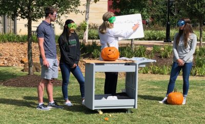 "Chemistry teacher Cathy Mock surprised STEM Society students at The John Cooper School with a science experiment that ""self-carved"" Halloween pumpkins."