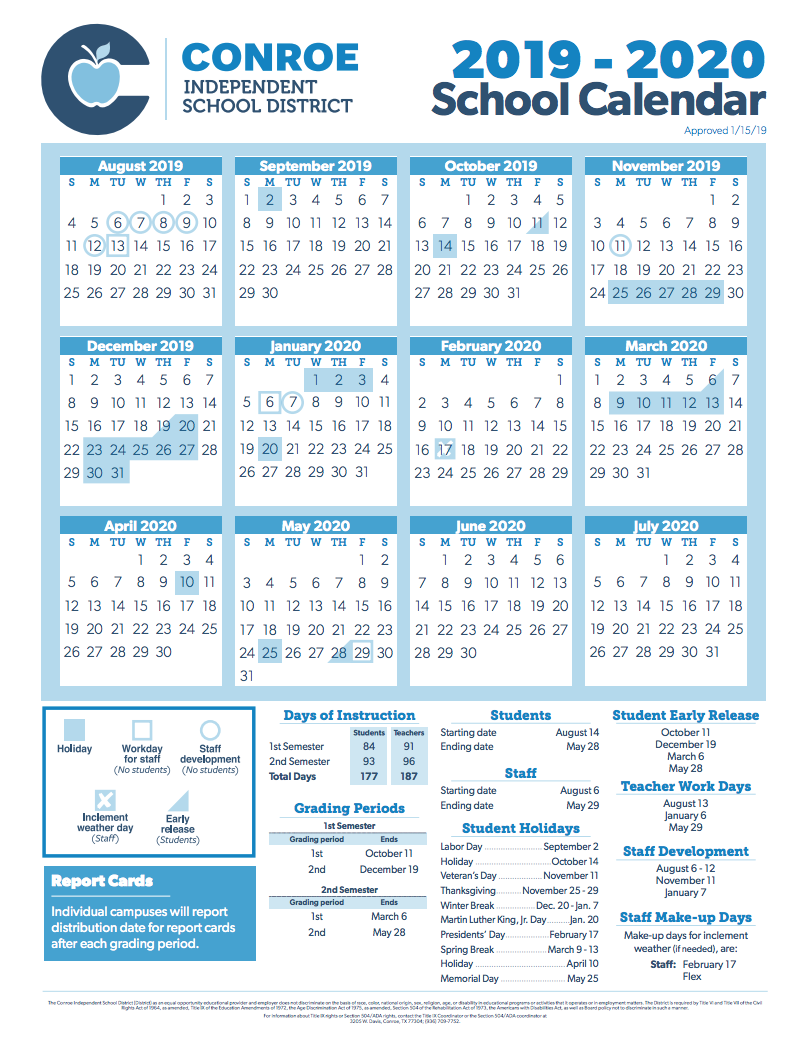 Montgomery County School Calendar 2019 20.Conroe Isd Trustees Approve 2019 2020 School Calendar Hello Woodlands
