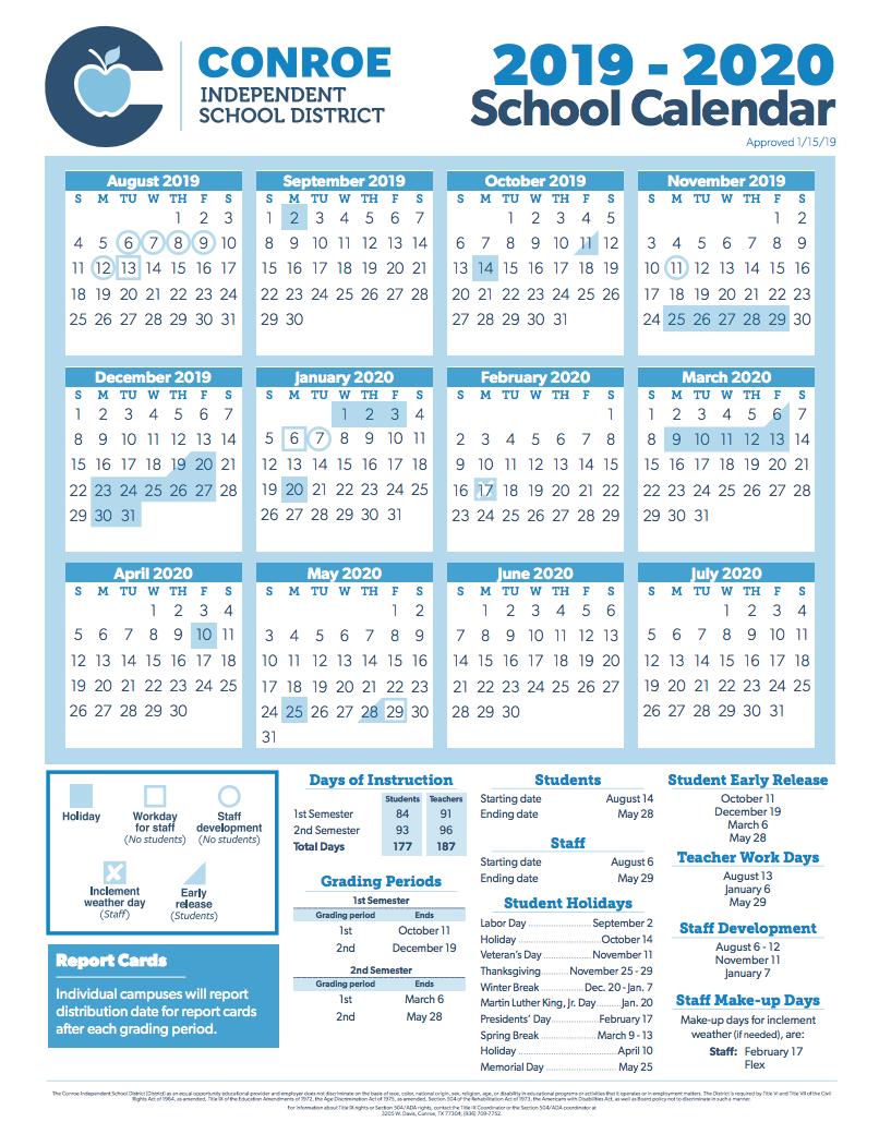 Conroe Isd Calendar 2019 2020.Conroe Isd Trustees Approve 2019 2020 School Calendar Hello Woodlands