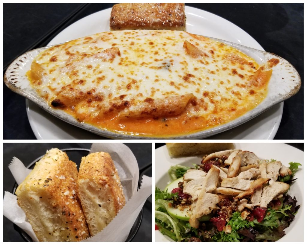 Baked Ziti, Garlic Bread, Apple Walnut Salad. Photo by Nick Rama.
