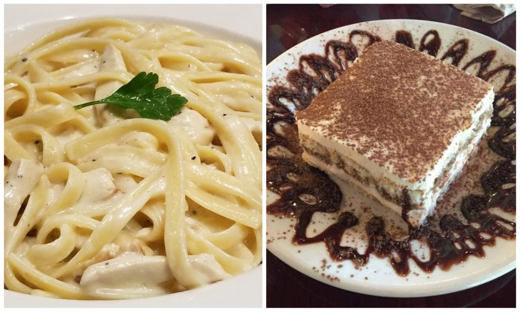 Fettuccine Alfredo & Tiramisu. Photo by Nick Rama.