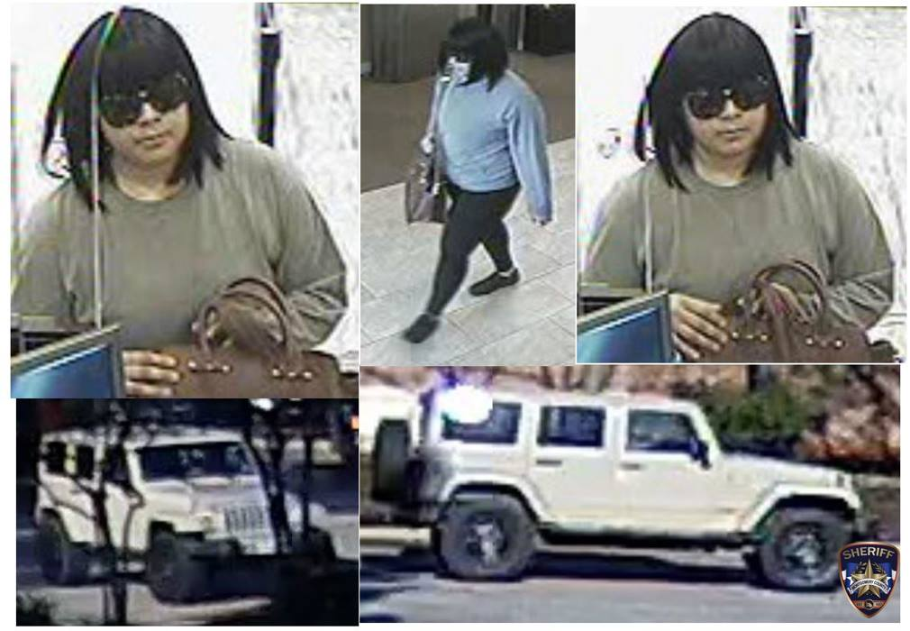 MCTXSheriff Seeking Public's Help to Identify Robbery Suspect Montgomery County Sheriff's Office is seeking the public's help in identifying the below pictured suspect who robbed the Chase Bank on February 13, 2019. The suspect fled in what appears to be a light colored 4-door Jeep Wrangler possibly a Sahara model with colored fenders, a matching hard top and aftermarket wheels and tires. If you have any information regarding this investigation, please contact Montgomery County Sheriff's Office at 936-760-5800, the FBI, or Crime Stoppers at 1-800-392-STOP (7867) and refer to case #19A052019.