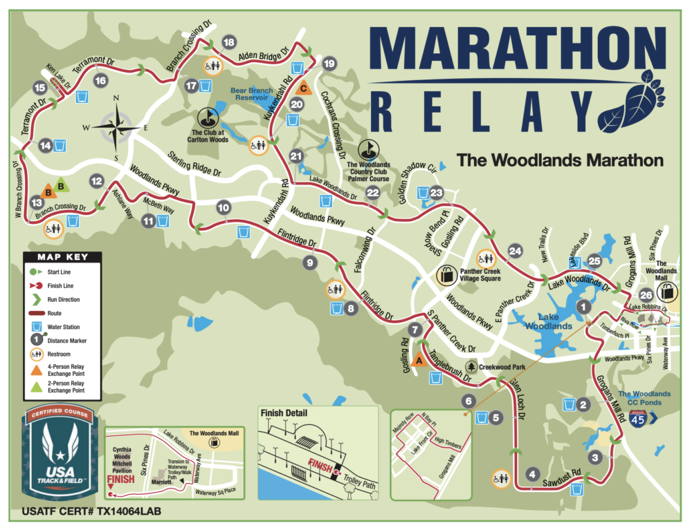 the woodlands marathon map 2019