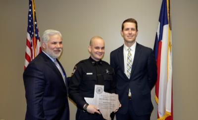 Left – DA Brett Ligon, Deputy Jacob Rodgers, ADA Andrew James