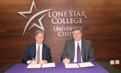 Lone Star College students can now meet with Bellevue advisers at LSC-University Center at The Woodlands thanks to a new partnership. Pictured (left to right) signing the agreement are Dr. Dwight Smith III, LSC vice chancellor Student Success and James Grotrian, Bellevue University executive vice president Operations.