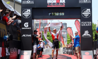 THE WOODLANDS, TEXAS - APRIL 27: Patrik Nilsson of Sweden celebrates after winning The Memorial Hermann IRONMAN North American Championship Texas on April 27, 2019 in The Woodlands, Texas. The Memorial Hermann IRONMAN North American Championship Texas returned to the Lone Star state on April 27, 2019 when over 3,000 registered participants took part in a 140.6 mile race through The Woodlands and surrounding scenic areas of Montgomery and Harris Counties. (Photo by Maddie Meyer/Getty Images)