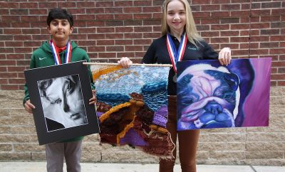 "Seventh grader Saami Baig (left) and eighth grader Reva Guinn, both students at The John Cooper School, were awarded Platinum Medals of Distinction by the Jr. Visual Arts Scholastic Event held in Bryan. Baig won the top honor for ""Crumpled Up"" and Guinn for ""New Mexico Road Trip"" and ""Louie."""