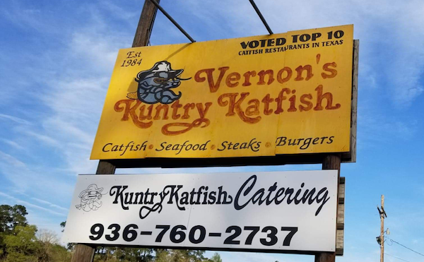 Vernon's Kuntry Katfish sign