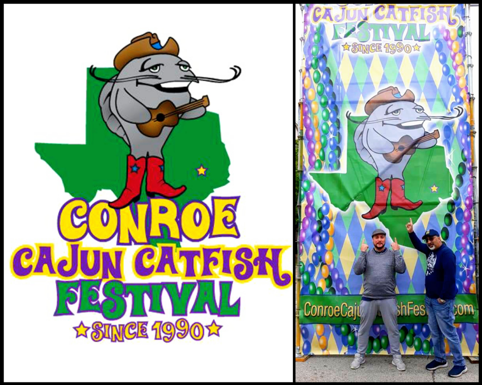 Conroe Cajun Catfish Festival Logo courtesy of Friends of Conroe / Elias Ishida and Nick Rama at Entrance of the festival, photo credit Metta Marie Archilla