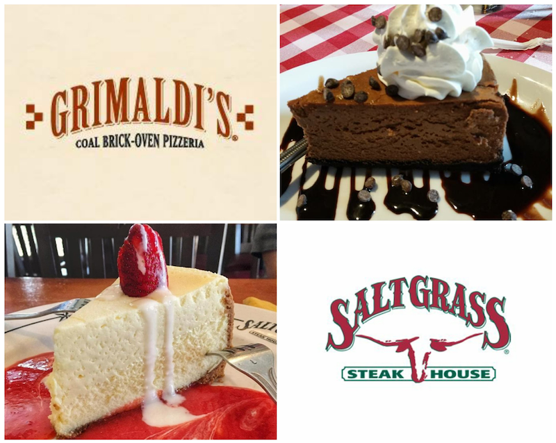 Grimaldi's Pizzeria - Chocolate Cheesecake, photo by Nick. Rama and Saltgrass Steak House - Two Fork Cheesecake, photo by SaltGrass