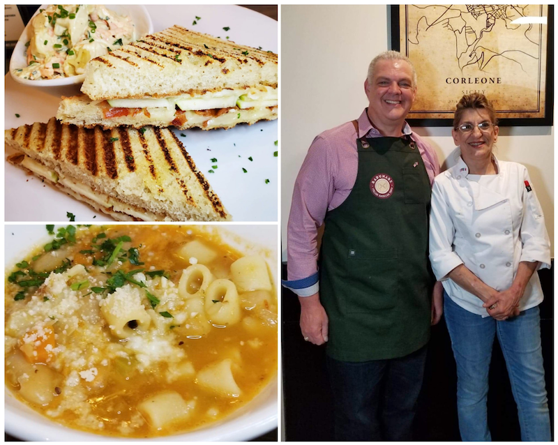 Cheese Panini - Granny smith apple, provolone, fontina, crispy pancetta./ Dr. Frank Morello & Chef Teresa Palermo / Pasta e Fåggioli - Garden vegetables, cannellini beans, canneroni pasta, chicken broth, house made croutons, parmesan. Photos by Nick Rama
