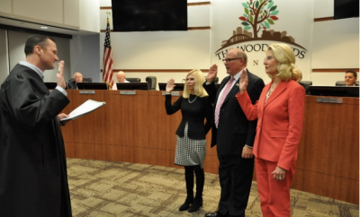 Photo by The Woodlands Township; Justice of the Peace Precinct 3 Judge Matt Beasley swears in newly elected Directors (left to right): Township Secretary, Dr. Ann K. Snyder; Township Director, Bob Milner and Township Director Dr. Shelley Sekula-Gibbs.
