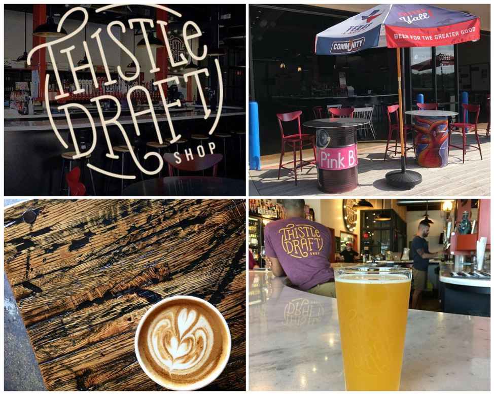 Thistle Draft Shop logo and bar / Front patio / latte / ice cold beer, photos by Thistle Draftshop