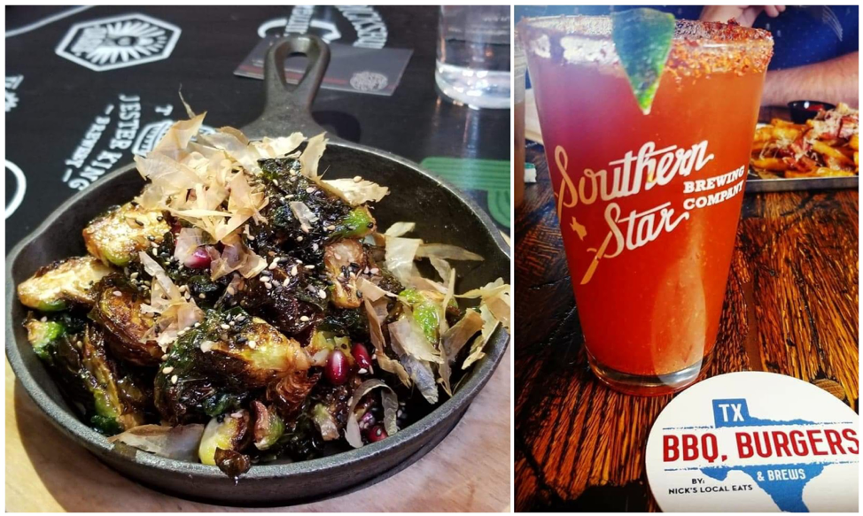 Dancin' Brussel Sprouts - pomegranate, sesame seeds, fish sauce vinaigrette, bonito flakes / Michelada, photo by Nick Rama