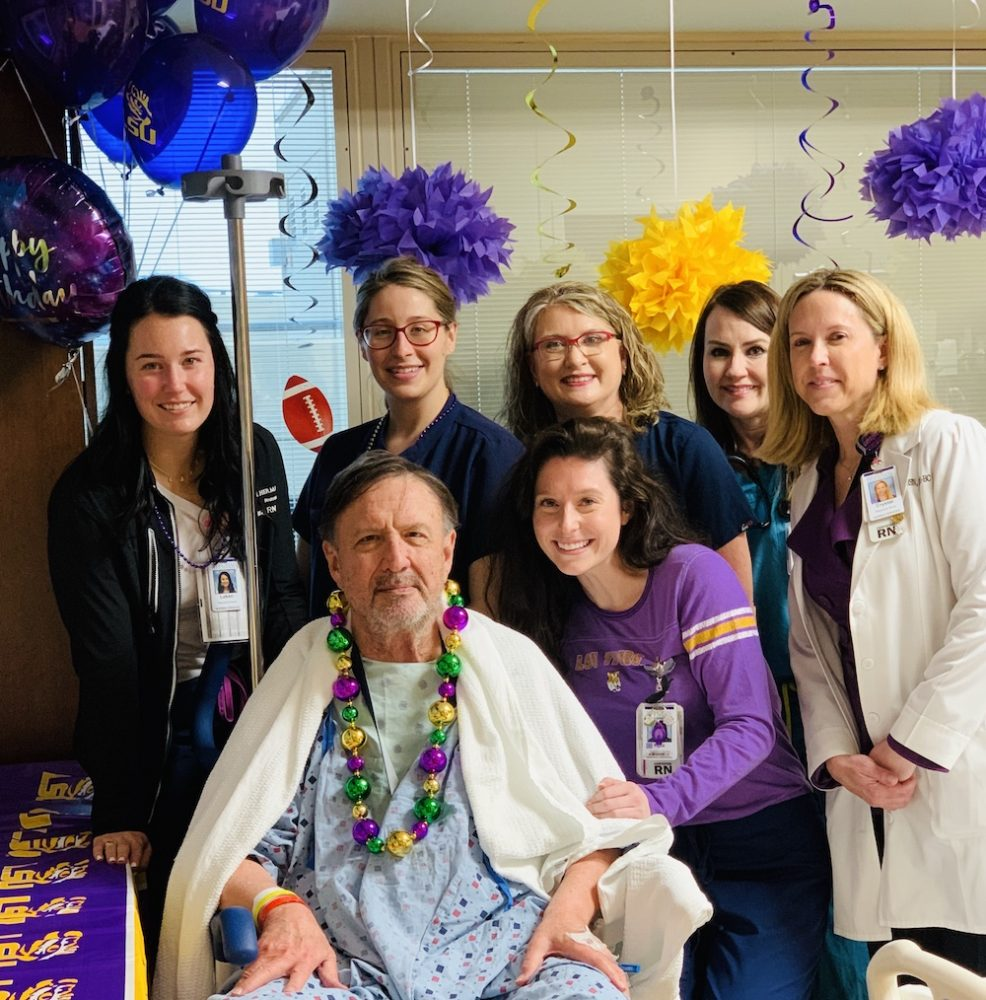 Memorial Hermann The Woodlands surprises LSU Fan before brain surgery to celebrate his birthday and the National Championship tonight.