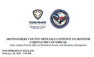 MONTGOMERY COUNTY OFFICIALS CONTINUE TO MONITOR CORONAVIRUS OUTBREAK