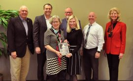 """The Woodlands Township honored Sara """"Sally"""" Smith-Frings, Volunteer of the Year for Neighborhood Watch. Pictured left to right: Vice Chairman Bruce Rieser, Chairman Gordy Bunch, Sally Smith-Frings, Director Bob Milner, Secretary Dr. Ann K. Snyder, Treasurer John Anthony Brown and Director Dr. Shelley Sekula-Gibbs."""