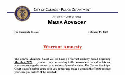 2020 warrant amnesty for the City of Conroe