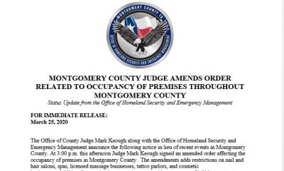 MONTGOMERY COUNTY JUDGE AMENDS ORDER RELATED TO OCCUPANCY OF PREMISES THROUGHOUT MONTGOMERY COUNTY