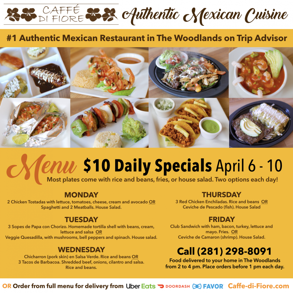 Caffe di Fiore Menu April 6 to 10