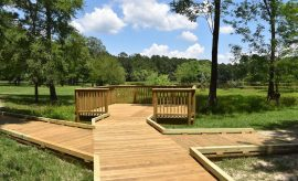 new boardwalk at the Spring Creek Greenway Nature Center